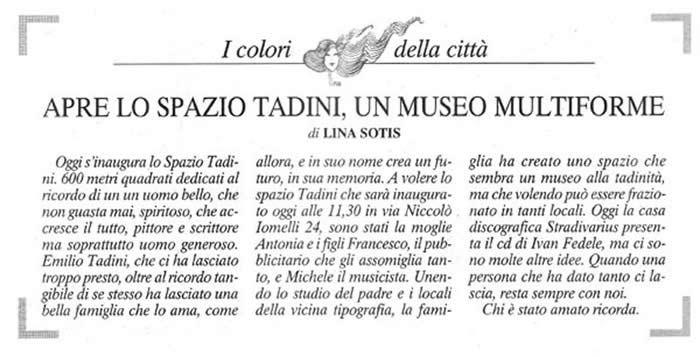 Spazio Tadini articolo Lina Sotis